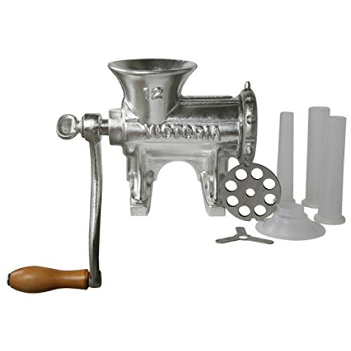 Manual Tinned Meat Grinder - Victoria Manual Meat Grinder and Sausage Stuffer, Number 12, Cast Iron, Tabletop Meat Mincer and Sausage Maker