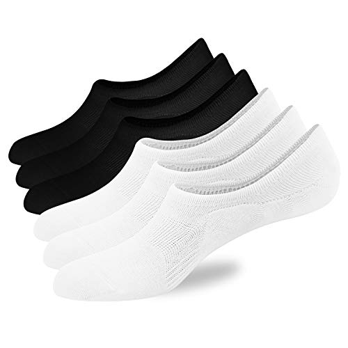 6 Pairs Men's No Show Socks Ultra Thin Low Cut Non Slip Casual Cotton Invisible Sock for Men Shoe Size 6-11