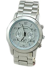 Borar Men's Oversized Silver Tone Fashion Metal Watch