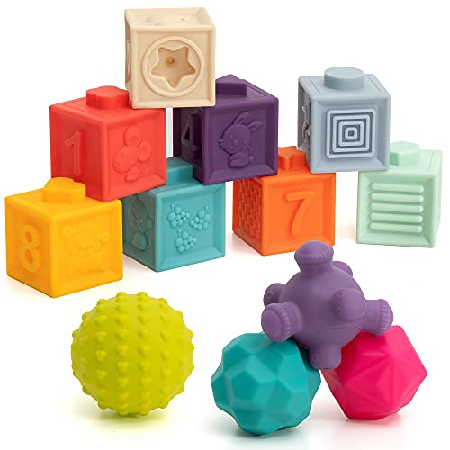 TILLYOU Baby Stacking Blocks 6-12 Moths 12PCS, Sensory Ball Toys, Baby Toys 3-6 Months, Baby Bath Toys, Soft Baby Teething Toys, Building Blocks Infants