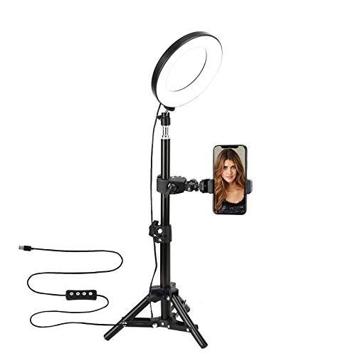 Selfie Lumiere, ZOMEi 6 Pouces LED Anneau Lumiere avec Trépied, 6W 3000-6000K Professionnels Lumiere Anneau pour Telephone Caméra Photo Vidéo Self-Portrait Youtube et Maquillage