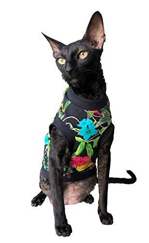 Kotomoda Katzen T-Shirt Nachtblumen für Sphynx-Katzen