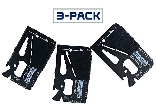 Credit Card Wallet Multitool by Typhon East (3 Pack) | 11 in 1 Flat Emergency Survival Multi Tool Keychain | Stainless Steel | Small Pocket Size | Gift for Groomsmen/Stocking Stuffer for Men