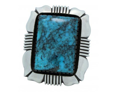- Calvin Martinez, Ring, Kingman Turquoise, Heavy, Silver, Navajo Handmade, 11.5