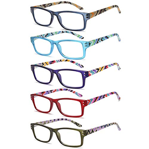 Multi Color Frames Reading Glasses - Reading Glasses 5 Pairs Fashion Spring Hinge Readers Computer Game Readers for Women Men (3.0X)