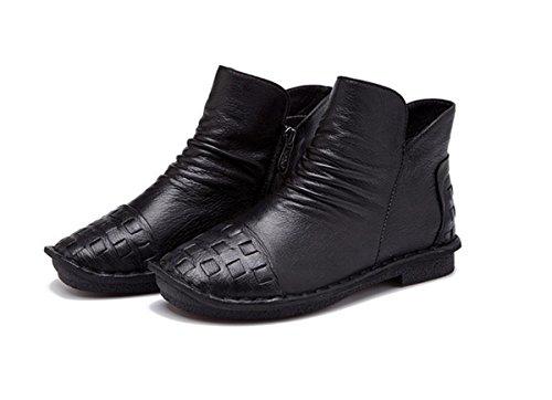 NVXIE Señoras Mujer Nuevo Pisos Zapatos Botas Cortas Ocio Tacón bajo Cabeza Redonda Piel Genuina Más Cashmere Caliente Bombas Antideslizantes Otoño Invierno Trabajo de Fiesta, EUR 36/UK 3.5-4 EUR38UK55