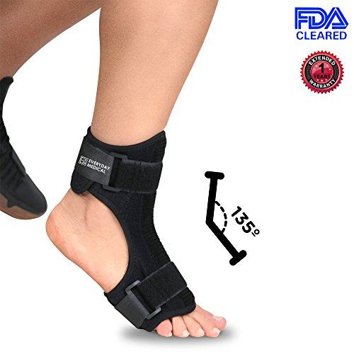 Everyday Medical Plantar Fasciitis Night Stretching Splint - Ergonomic Fit Plantar Fasciitis Brace Arch Support With Bendable Rigid Metal At Instep - Home Healing For Plantar Fasciitis, Arch Foot - Fascitis Night Plantar Splint