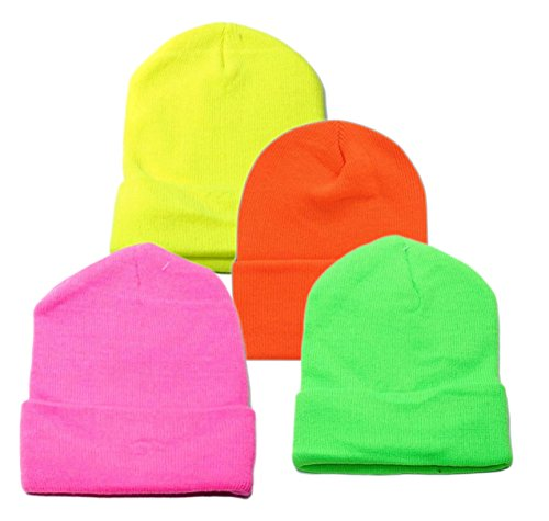 OPT Brand. Wholesale 4 Pieces Unisex Knit Long Cuff Ski Plain Neon Beanie Cap Solid Color Beany (Assorted Colors)