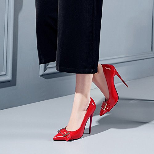 Mee Shoes Women's Office High Heel Stiletto Pointed Toe Court Shoes Red a0KN1PBop
