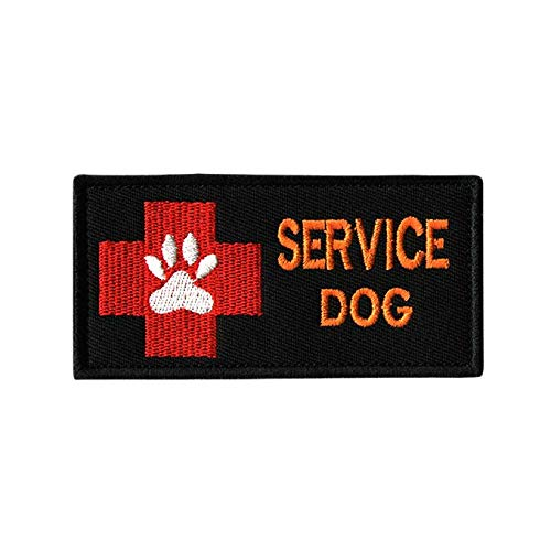 Morton Home-Service Dog Working Military Tactical Morale Badge Hook & Loop Fastener Patch (Red Cross Black)