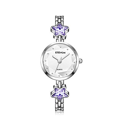 ETEVON Women's 'Stellate Glass' Design Dial Quartz Analog with Silver-Tone Bracelet and Star-Shape Crystal, Simple Fashion Dress Wrist Watches for Girls Women-Puple ()
