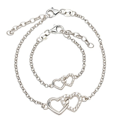 - Sterling Silver Mom and Me Double Heart Bracelet Set for Mom and Daughter