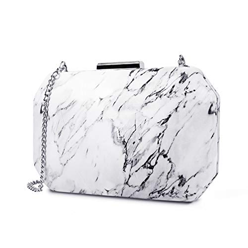 two the nines Evening bags Designer White Marble Clutches PU Hardcase Purse - Evening Hard Clutch Purse Handbag