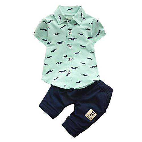 Yamally Toddler Kids Baby Boys Fashion Short Sleeve Beard T Shirt Tops+Shorts Pants 2Pc Outfit Clothes Set (0-6Months, Green)