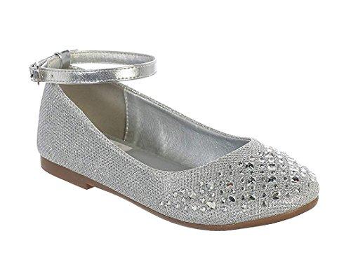 7c3614fdd8fb iGirldress Little Girls Silver Sparkle Rhinestone Ankle Strap Dress Flat  Shoes Size 9 Toddler