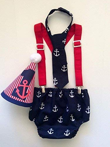 Amazon Nautical Anchor Boys Cake Smash First Birthday Outfit With Red Clip Suspenders And Neck Tie W Optional Party Hat Handmade