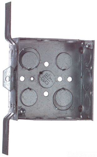 Steel City 52151 CV 1/2 3/4 Pre-Galvanized Steel Square Box with CV-Bracket and 1/2-Inch and 3/4-Inch Eccentric Knockouts
