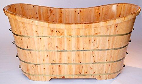 ALFI brand AB1105 63-Inch  Free Standing Cedar Wood Bath Tub