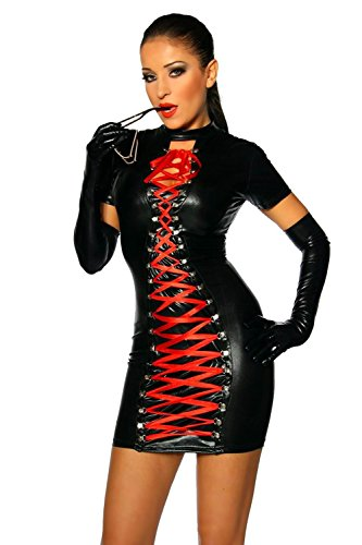 Fashion Queen Women's Sexy Gothic Wetlook Dress Red Ribbon Lace Up Clubwear Stripper (One Size, Black)