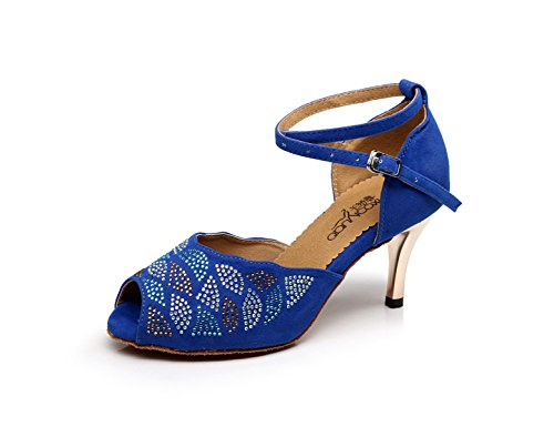 Dance Shoes Modern JSHOE heeled8 Our42 Tango High UK7 5cm Satin Blue Shoes Samba Latin Sandals Heels Chacha EU41 Salsa Jazz Sparking Women's Crystals pp4Ywf0