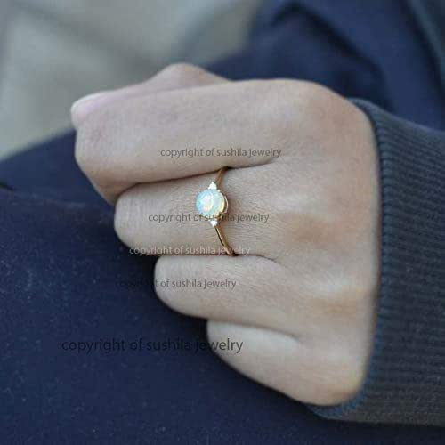 Minimalist Solid 14K Yellow Gold Genuine Opal Gemstone SI Clarity G-H Color Diamond 0.08 Ct Engagement Ring Jewelry All Size 3 to 9