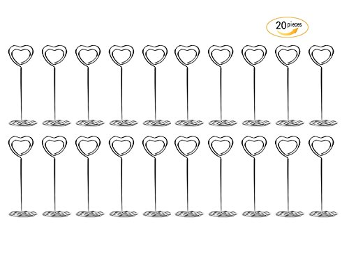 20 Pcs 85mm Tall Heart Shape Metal Table Number Holder Stands for Weddings Party Gatherings, Place Card Holder,Photo/Picture Holder (Heart Place Card Holder Silver)