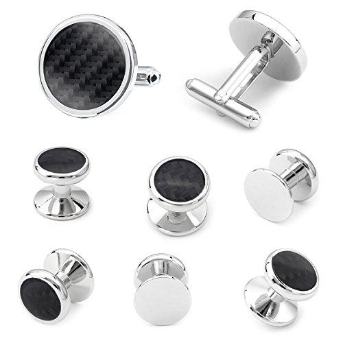 HAWSON Carbon Fiber Cuff links and Tuxedo Studs Set - Wedding Business (Button Design Cufflinks)