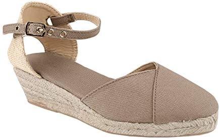 Ermonn Womens Espadrille Platform Wedge Sandals Closed Toe Lace Up Ankle Strap Shoes