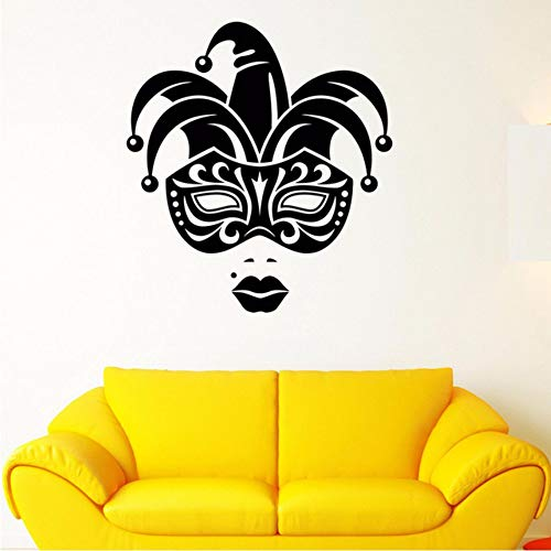 LLLYZZ Carnival Jester Face Mask Girl Lips Vinyl Wall Decal Home Decor Living Room Art Mural Wall Stickers 5762cm