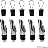 Wine Pourer and Stopper - 5 Pack - Tapered Design - Liquor and Wine Bottles - Drip Free Pouring - Stopper Creates an Seal - Keeps Wine Fresh - Gift for Wine Enthusiasts. (Retail pack)