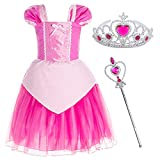 Princess Aurora Costume Birthday Party Dress for Toddler Girls 4-5 Years (4T 5T)