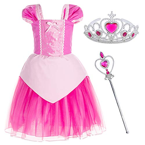 Princess Aurora Costume Birthday Party Dress for Toddler Girls 5-6 Years (5T 6T)
