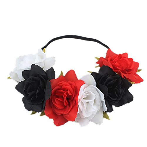 Floral Fall Rose Holiday Crown Festival Headbands Hippie Flower Headpiece F-53 (Red White Black)