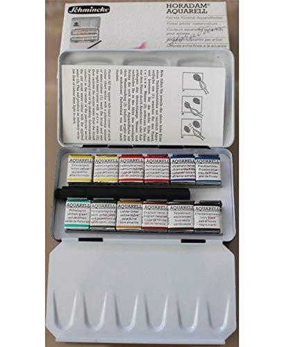 (Schmincke Horadam Aquarell Half-Pan Paint Metal Compact Set with Brush, Set of 12 Colors (74012097) )