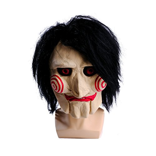 (wellin international WELLIN Party Halloween Saw Billy The Puppet Mask, Latex Masquerade Prop)