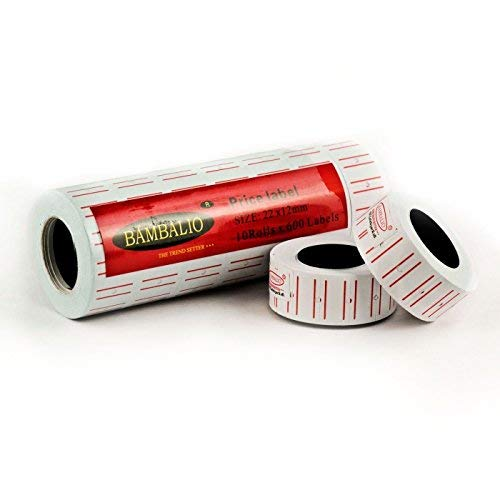 Bambalio BLR-WP(T) Price Label White with Two Red Border Lines Compatible with All Single Line Price Labeling Machines- Pack of 10 Rolls (B00NB3BJH6) Amazon Price History, Amazon Price Tracker