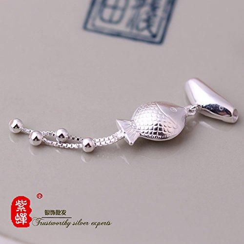 (TKHNE Thai Silver S925 Silver DIY beaded jewelry accessories small little fish kiss fish necklace pendant elbow)