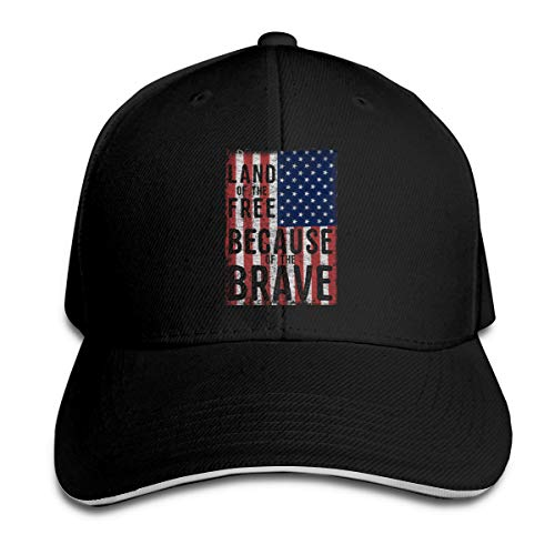 Land of The Free Because of The Brave Baseball Caps Unisex Sandwich Caps Black