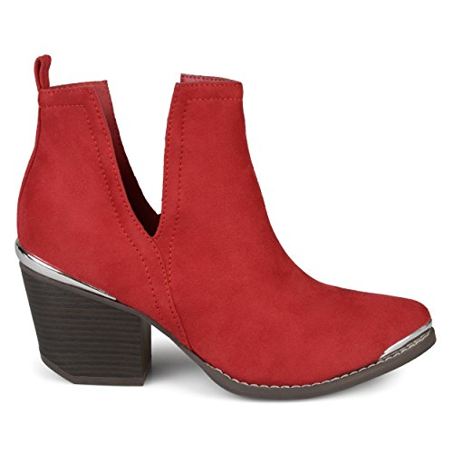 Booties Detail Co Suede Heel Metal Slit Side Faux Brinley Womens Red Wood Stacked qBPxF