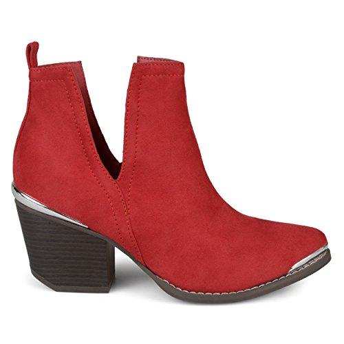 Detail Side Faux Co Red Slit Wood Stacked Suede Brinley Booties Womens Heel Metal EzRnq8x8w