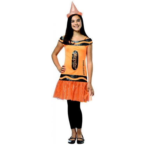 Rasta Imposta Crayola Metallic Sunburst Glitz & Glitter Dress, Orange, Tween 10-12