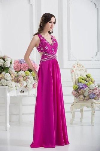 GEORGE BRIDE Reizvolle V-Ausschnitt Abendkleid mit einzigartiger Design auf der Rueckseite Fuchsie 6SfPK2e
