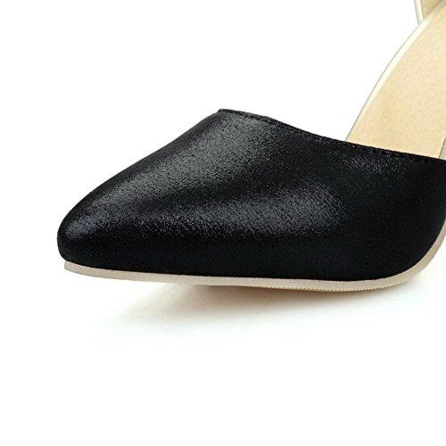 Amoonyfashion Femmes Pointes Talons Aiguilles Matériau Souple Couleur Assortie Orteils Pompes Chaussures Noir