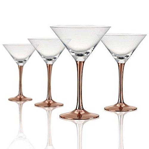 Artland 52013B Coppertino Martini Glass, Set of 4, 10 oz, Clear/Copper Artland Martini Glass