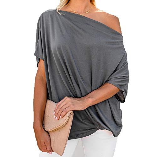 EKIMI Tops Women Off Shoulder Loose Pullover Sweater Batwing Sleeve Knit Jumper Top Blouse, (Y5, L) ()