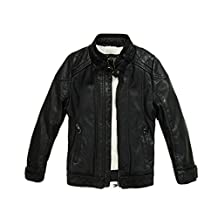 LJYH Boys Winter Faux Leather Jacket Thick Velvet Children's Clothing Baby PU Coat
