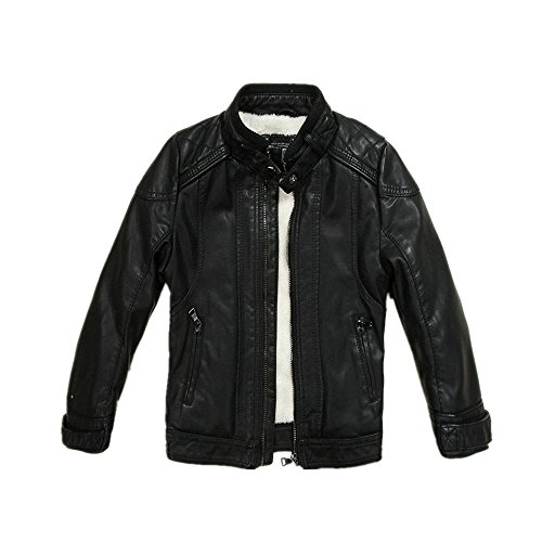 LJYH Boys Leather Jacket New Spring Thick Velvet Children's Clothing Baby Coat PU Leather 11/12yrs Black]()