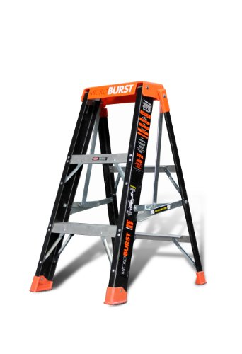 MicroBurst Fold-Flat 375-Pound Duty Rating Fiberglass Stepladder, 3-Foot by Little Giant Ladder Systems