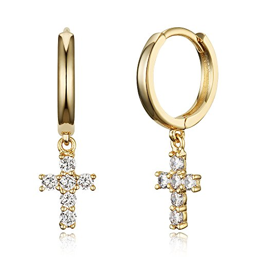 14k Gold Plated Brass Cross Plain Huggy Baby Girls Hoop Earrings ()