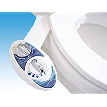 Luxe Bidet Neo 185 (Elite Series) - Self Cleaning Dual Nozzle - Fresh Water Non-Electric Mechanical Bidet Toilet Attachment w/ Strong Faucet Valves and Metal Hoses (blue and white) by LUXE Bidet